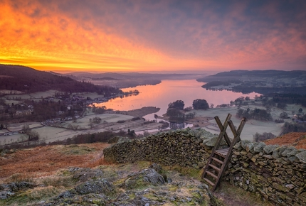 A frosty view over Lake Windermere
