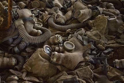Abandoned gas masks in Pripyat, near Chernobyl