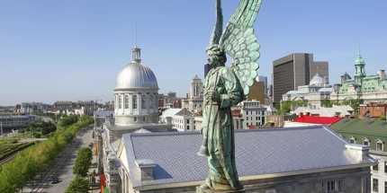 An angel's view with Bonsecours market in the background.