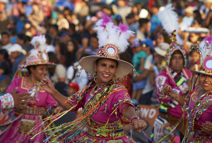 Colourful Quechua dancers at Tinku festival