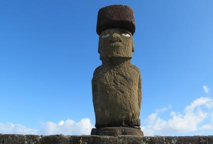 Giant Moai beneath the blue sky.