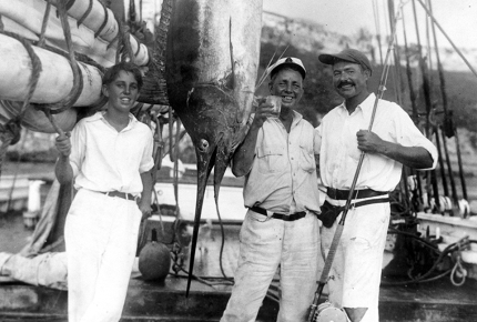 Joe Russell and Ernest Hemingway (right) at Havana Harbour, 1932