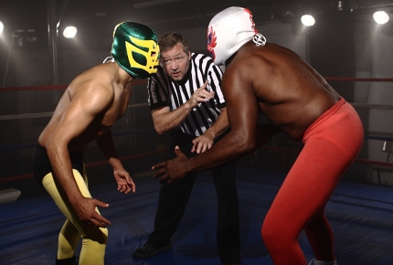 Lucha libre is characterised by colourful masks and quick manoeuvre.