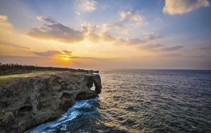Rock formations along the coast at Manzamo, Okinawa