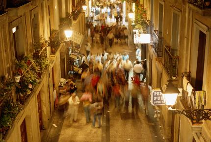 San Sebastián's old town floods with diners each evening
