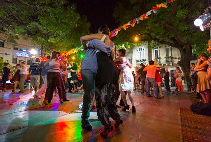 Tango dancers take to a square in San Telmo, Buenos Aires
