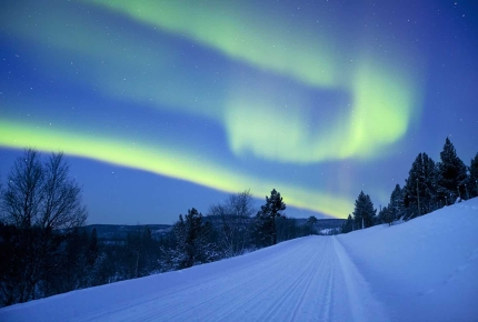 The auroras borealis over Lapland, Finland