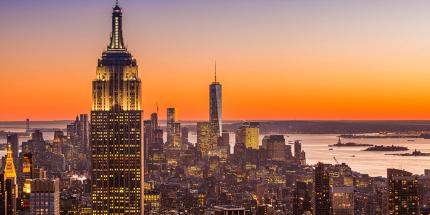 The golden glow of sundown over New York