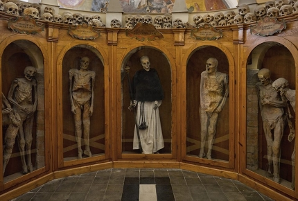 The mummified skeletons of Urbania's Church Of The Dead