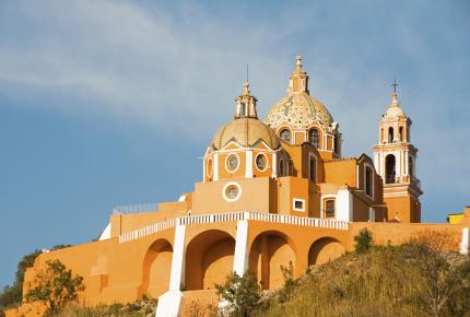 The view over the Santuario de los Remedios in Puebla