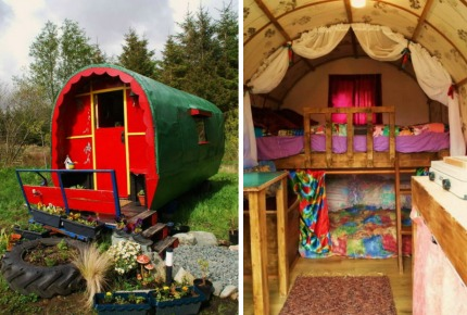 Another Airbnb gem: a gypsy wagon in the middle of a meadow