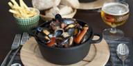 Léon's mussels, chips and house-brewed beer