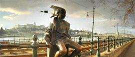 Danube and statue of a smiling child, Budapest
