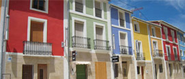 Colourful buildings in Alicante