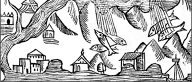 A 16th-century engraving of fish rain by Olaus Magnus