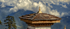 Bhutan's Dochula Pass deep in the snow capped Himalayas