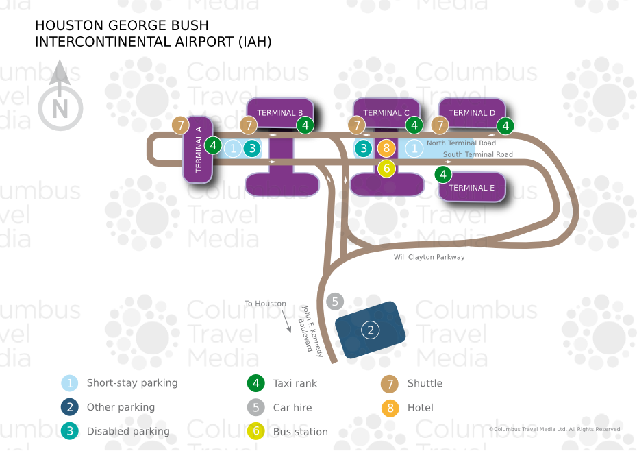 George Bush Intercontinental Airport IAH Airports Worldwide - Houston terminal map