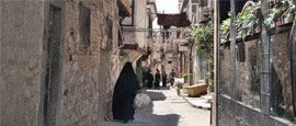 Atmospheric narrow street in Damascus