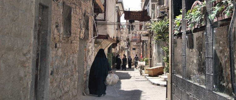 Atmospheric narrow street in Damascus